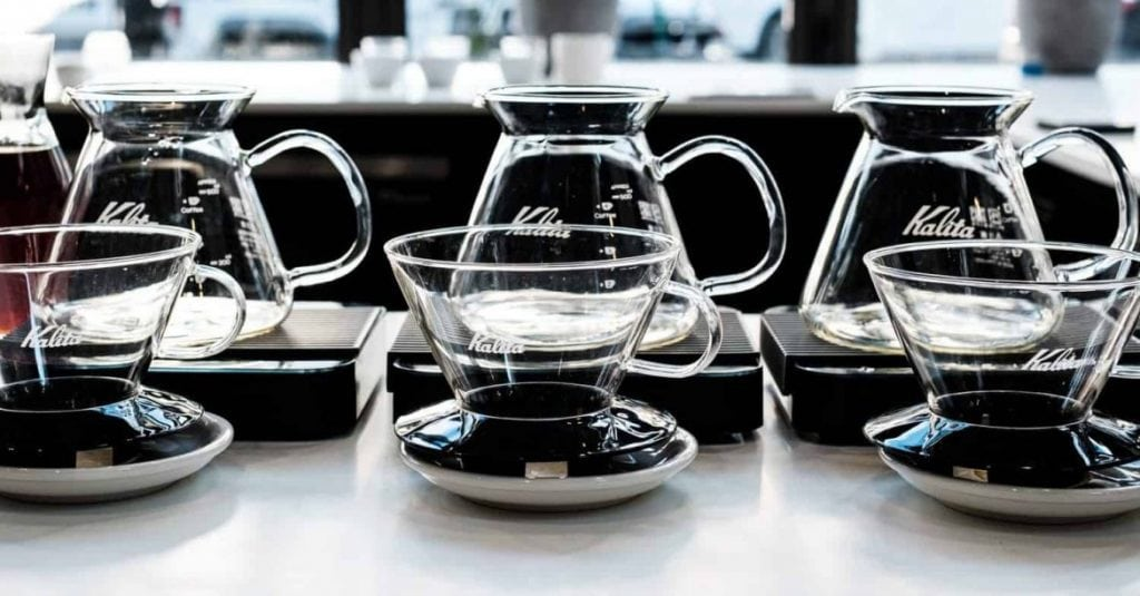 In the image Kalita Drippers and servers together. With any brewing device, water temperature use to be part of any pour over coffee recipe.