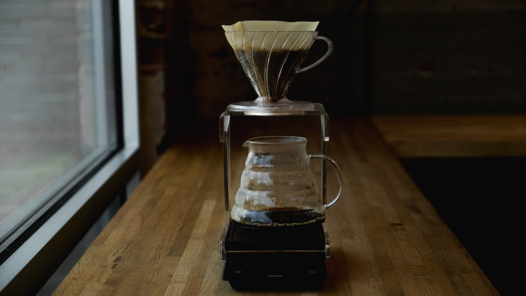 Brewing coffee with a V60 dripper