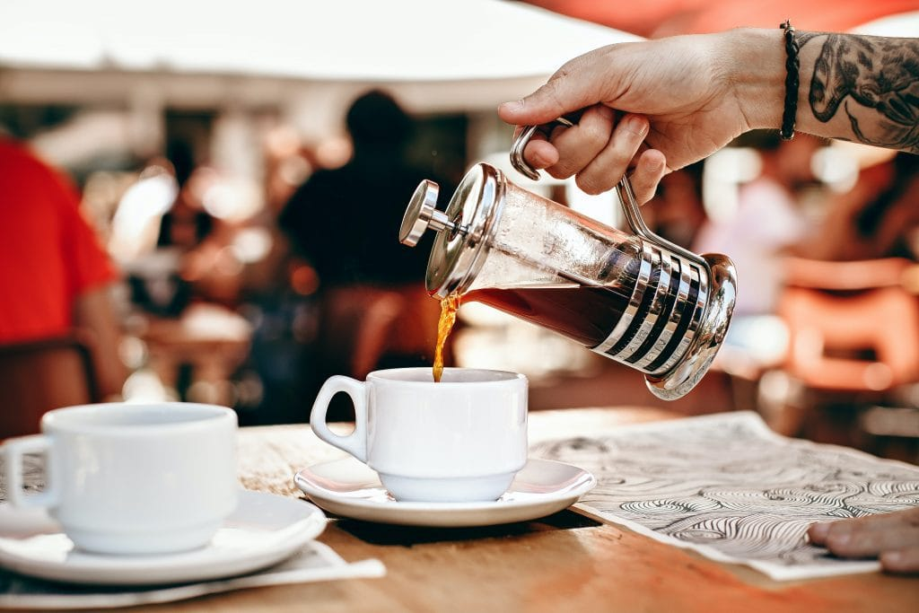 Serving coffee with a french press