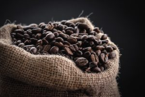 Coffee sack with roasted coffee