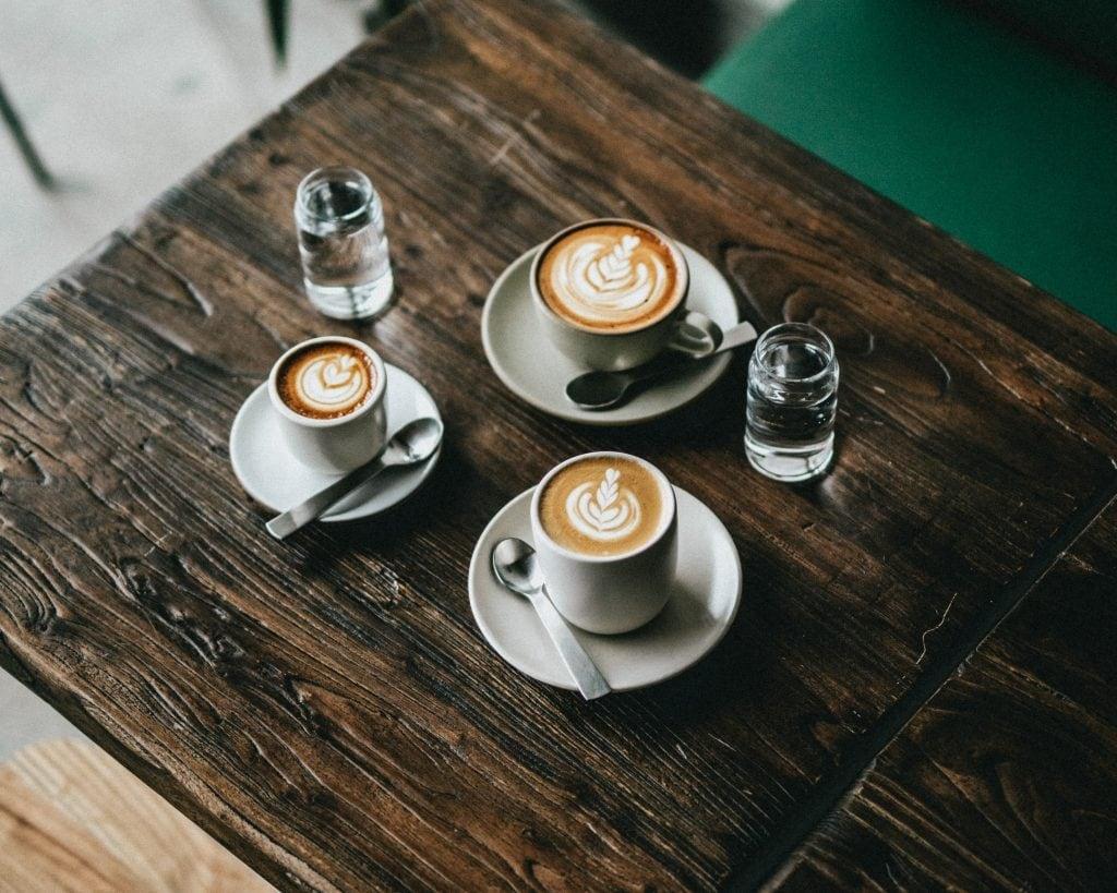 Cortado, flat white and cappuccino